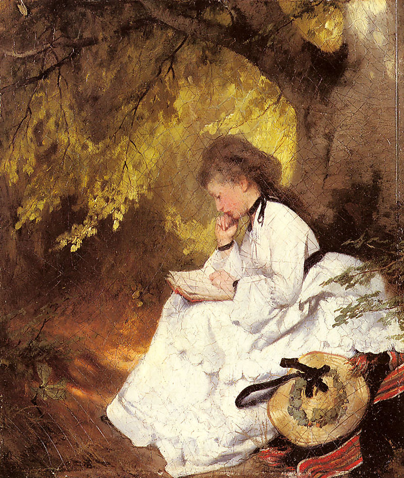 Raupp_Karl_An_Elegant_Lady_Reading_Under_A_Tree